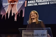 Anna Pangbourne talking on stage at the Drapers Awards 2019.