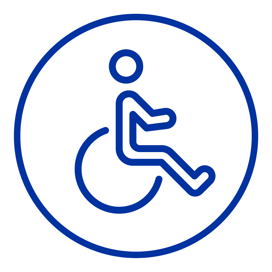 Cartoon drawing of a wheelchair.