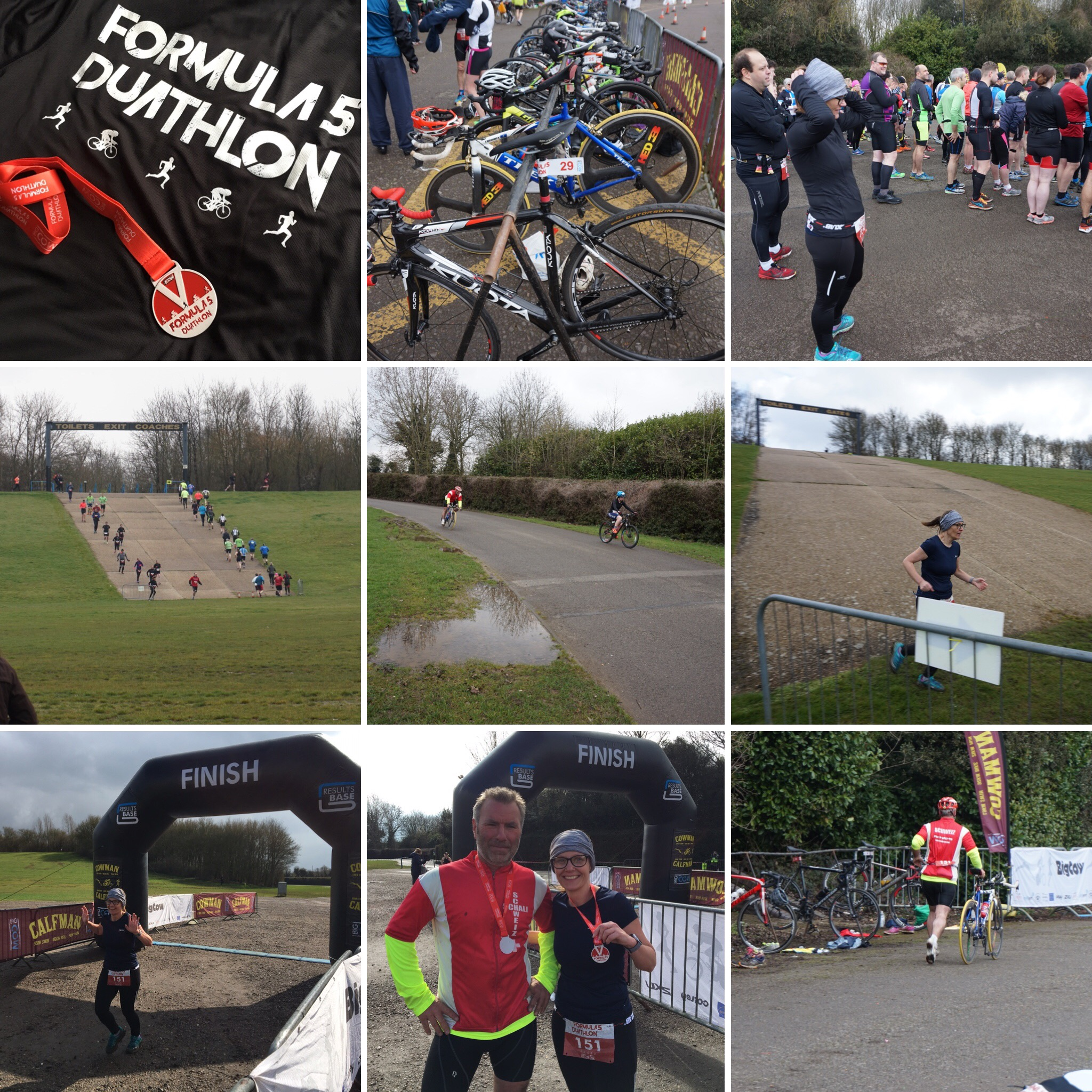 Montage of pictures from Heidis Duathlon.