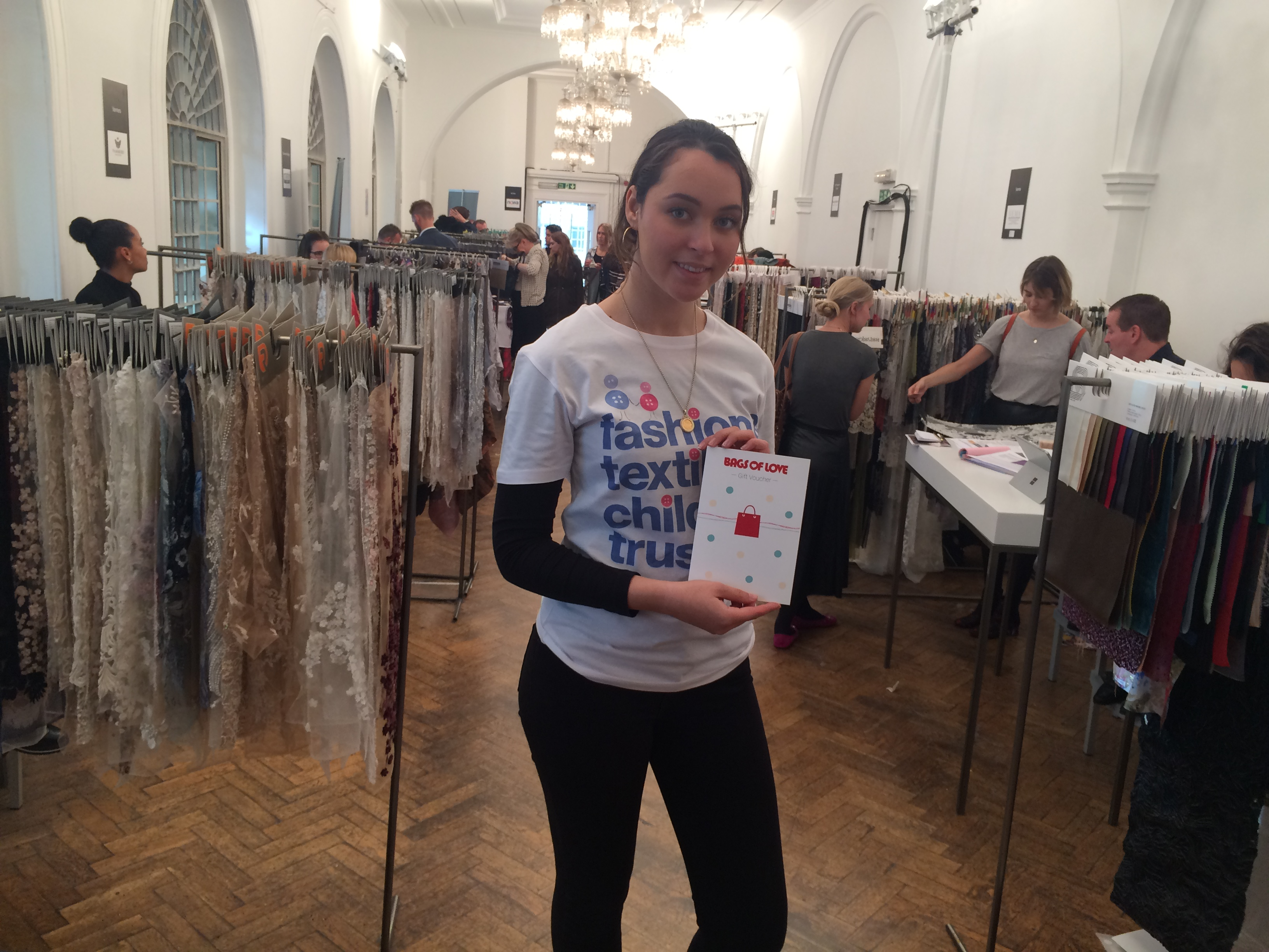 Picture of volunteer Eva at Textile Forum.