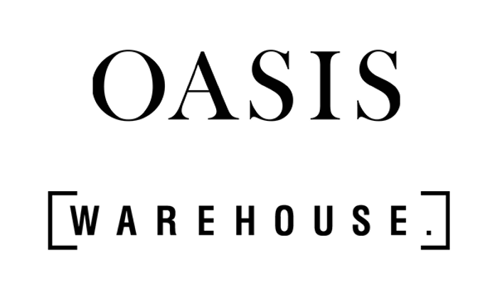 The Oasis and Warehouse logos in black font on a white background.