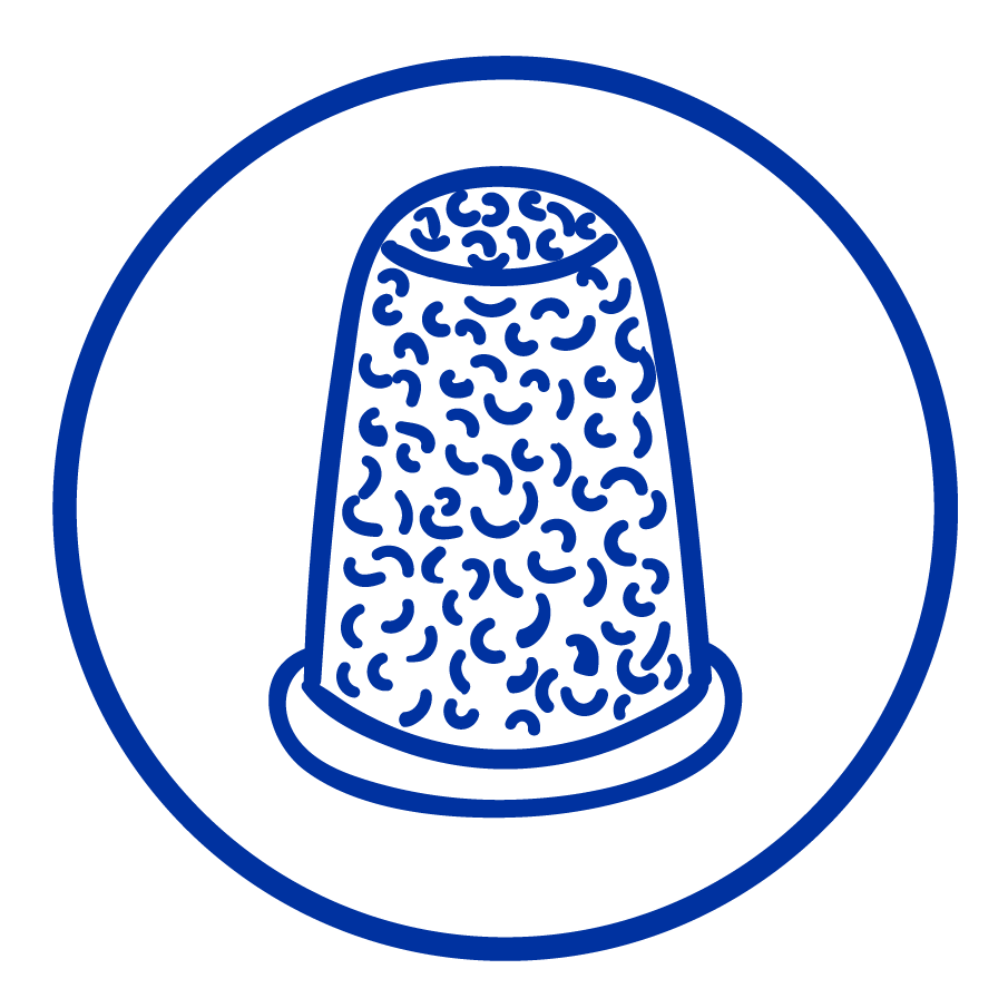 Cartoon drawing of a thimble.