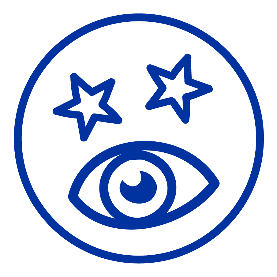 Cartoon drawing of an eye and stars symbolising sensory equipment.