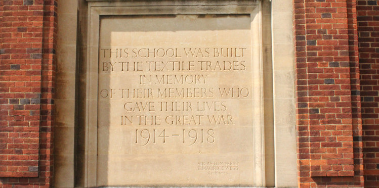 Picture of a plaque at The Royal Russell School.