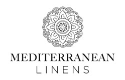 A decorative circle above the text displaying the word Mediterranean Linens.