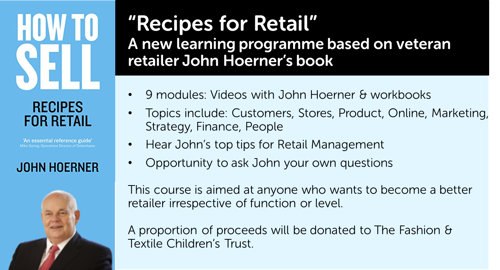 A blue box with a black header of text details the training courses available in the Recipes For Retail series.