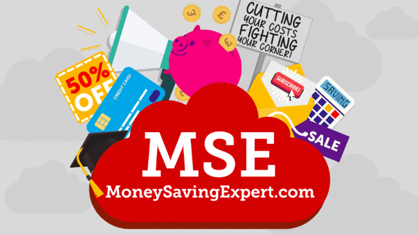 A cloud with the Money Saving Expert logo in the middle surrounded by drawings of various money related images such as a piggy bank, a crediat card and some money.