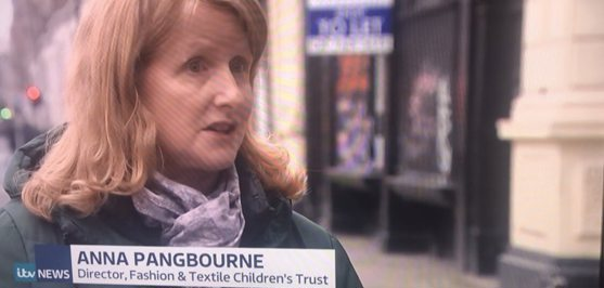 a screenshot showing FTCTs director Anna being interviewed on television.