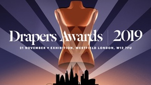 Image of a gold mannequin bust on a blue background, with the words Drapers Awards 2019 across the middle.