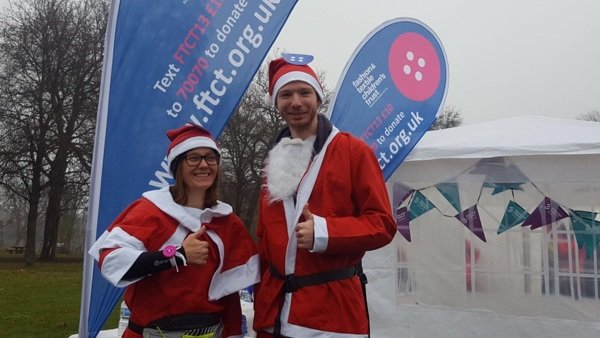 Picture of Heidi and Chris at the Santa Run.